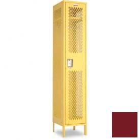 "Penco 6A145-736 Invincible II Locker, 1 Tier Basic Unit, 15""W X 18""D X 60""H, Burgundy"