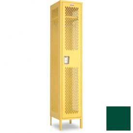 "Penco 6A149-812 Invincible II Locker, 1 Tier Basic Unit, 18""W X 15""D X 60""H, Hunter Green"