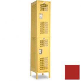 "Penco 6A237-722 Invincible II Locker, 2 Tier Basic Unit, 24""W X 24""D X 30""H, Patriot Red"