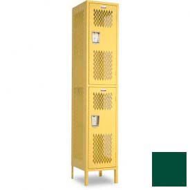 "Penco 6A241-812 Invincible II Locker, 2 Tier Basic Unit, 15""W X 21""D X 30""H, Hunter Green"