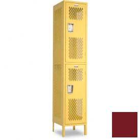 "Penco 6A251-736 Invincible II Locker, 2 Tier Basic Unit, 12""W X 21""D X 36""H, Burgundy"