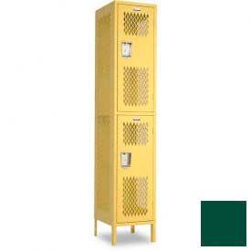 "Penco 6A251-812 Invincible II Locker, 2 Tier Basic Unit, 12""W X 21""D X 36""H, Hunter Green"