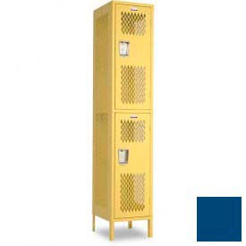 "Penco 6A257-052 Invincible II Locker, 2 Tier Basic Unit, 15""W X 15""D X 36""H, Reflex Blue"