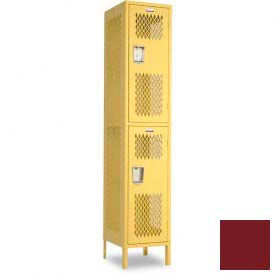 "Penco 6A257-736 Invincible II Locker, 2 Tier Basic Unit, 15""W X 15""D X 36""H, Burgundy"