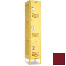 "Penco 6A289-736 Invincible II Locker, 3 Tier Basic Unit, 12""W X 15""D X 20""H, Burgundy"