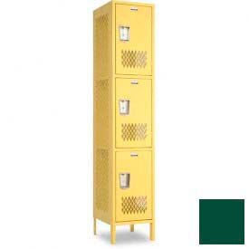 "Penco 6A289-812 Invincible II Locker, 3 Tier Basic Unit, 12""W X 15""D X 20""H, Hunter Green"