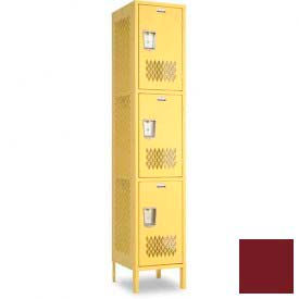 "Penco 6A293-736 Invincible II Locker, 3 Tier Basic Unit, 15""W X 15""D X 20""H, Burgundy"