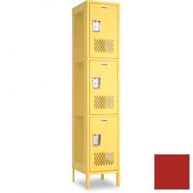 "Penco 6A303-722 Invincible II Locker, 3 Tier Basic Unit, 15""W X 18""D X 24""H, Patriot Red"