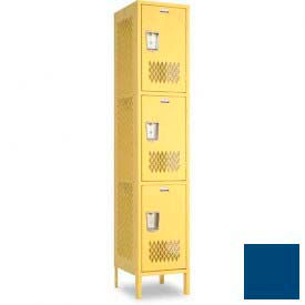 "Penco 6A305-052 Invincible II Locker, 3 Tier Basic Unit, 15""W X 21""D X 24""H, Reflex Blue"