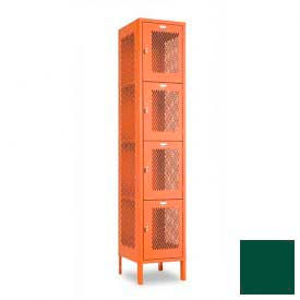"Penco 6A313-812 Invincible II Locker, 4 Tier Basic Unit, 15""W X 15""D X 15""H, Hunter Green"