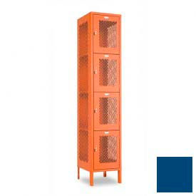 "Penco 6A321-052 Invincible II Locker, 4 Tier Basic Unit, 12""W X 15""D X 18""H, Reflex Blue"