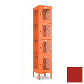 "Penco 6A321-722 Invincible II Locker, 4 Tier Basic Unit, 12""W X 15""D X 18""H, Patriot Red"