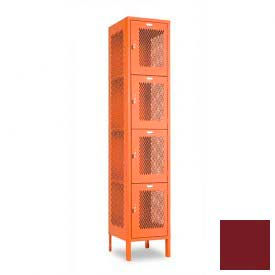 "Penco 6A335-736 Invincible II Locker, 4 Tier Basic Unit, 15""W X 18""D X 18""H, Burgundy"