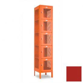 "Penco 6A357-722 Invincible II Locker, 5 Tier Basic Unit, 15""W X 15""D X 12""H, Patriot Red"