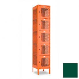 "Penco 6A359-812 Invincible II Locker, 5 Tier Basic Unit, 15""W X 18""D X 12""H, Hunter Green"