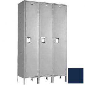 """Penco 6C119-3W-KD-822 Guardian Plus Locker, Single Tier 3 Wide, 15""""W x 12""""D x 60""""H, Regal Blue"""