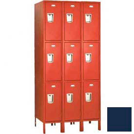 "Penco 6E451-3W-KD-822 Guardian Defiant II Locker Triple Tier 3 Wide, 15""W x 15""D x 20""H, Regal Blue"