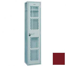 "Penco Angle Iron Locker, Cremone Handle, 1 Tier, 1 Wide, 12""W x 15""D x 60H"", Burgundy"