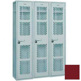 "Penco Angle Iron Locker, Cremone Handle, 1 Tier, 3 Wide, 12""W x 18""D x 60H"", Burgundy"