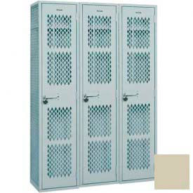 "Penco Angle Iron Locker, Cremone Handle, 1 Tier, 3 Wide, 15""W x 15""D x 60H"", Champagne"