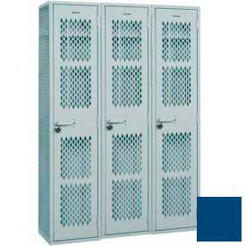 "Penco Angle Iron Locker, Cremone Handle, 2 Tier, 3 Wide, 15""W x 18""D x 30H"", Reflex Blue"