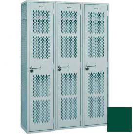 "Penco Angle Iron Locker, Cremone Handle, 2 Tier, 3 Wide, 18""W x 15""D x 36H"", Hunter Green"