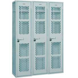 "Penco Angle Iron Locker, Cremone Handle, 3 Tier, 3 Wide, 18""W x 18""D x 24H"", Gray"