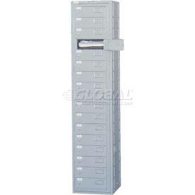 Penco 11100-GRAY 16 Compartment, Folded Garment Dispenser Locker, Gray w/Cam Locks