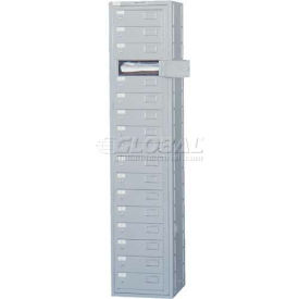 Penco 11700-GRAY 16 Compartment, Folded Garment Dispenser Locker, Gray w/Turn Knob Locks