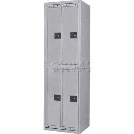 Penco LF-2/2-GRY-CAM 4 Compartment, Hanging Garment Dispenser Locker, Gray w/Cam Locks