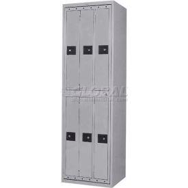 Penco LF-6C-GRY-TRNB 6 Compartment, Hanging Garment Dispenser Locker, Gray w/Turn Knob Locks