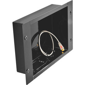 In-Wall Metal Recessed Cable Management & Power Storage Accessory Box, Large, Black
