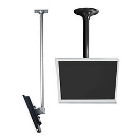 """LCD Ceiling Mount w/ Cable Management, 18"""" To 30"""" Adjustable Height - Silver"""