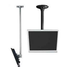 """LCD Ceiling Mount w/ Cable Management, 36"""" To 48"""" Adjustable Height - Silver"""
