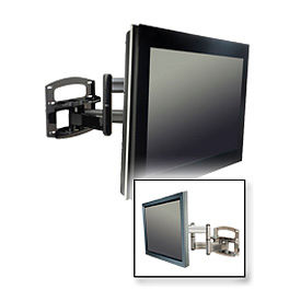 "Dual-Arm Wall Mount w/ Vertical Adjustment For 42-60"" Screens - Gloss Black"