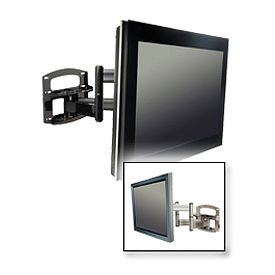 """Dual-Arm Wall Mount w/ Vertical Adjustment For 42""""-60"""" Screens - Gloss Silver"""