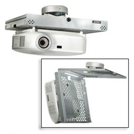 Universal Locking Projector Security Mount w/ Projector Ceiling Mount - Silver