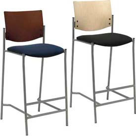 KFI - Barstools with Silver Frame and Wood Back