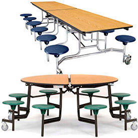 National Public Seating® - Portable Cafeteria Stool Unit - MDF Core Top & Protect-Edge
