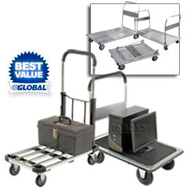 Folding Platform Trucks - Steel, Aluminum & Stainless Steel Decks