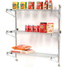 Wire Shelving Wall Mount Shelving Wall Mount Adjustable Wire Shelving Units Three Shelf 54 High Globalindustrial Com