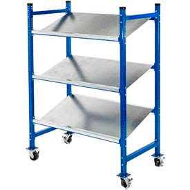 Mobile Gravity Flow Rack with Steel & Wire Shelves