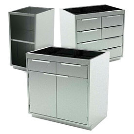 Aero Manufacturing Stainless Steel Base Medical Cabinets
