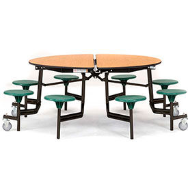 National Public Seating® Round Cafeteria Tables with Stools & Particleboard Top
