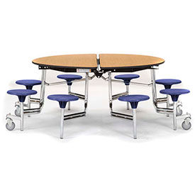 National Public Seating® Round Cafeteria Tables with Stools & Plywood Top