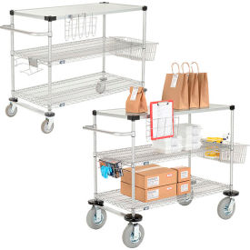 Nexel® Wire Curbside Carts With Solid Top Shelf