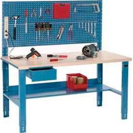 Global Industrial™ Adjustable Height Workbenches with Pegboard