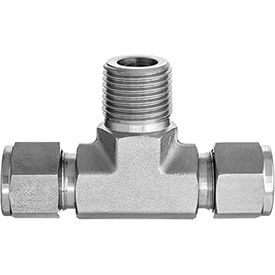 Tee Adapter - Tube to Tube to Male Threaded Pipe