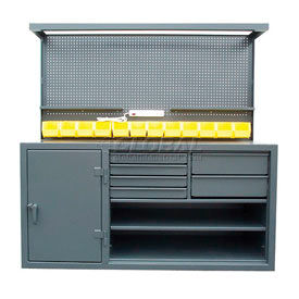 Strong Hold Heavy Duty Cabinet Workstations With Riser