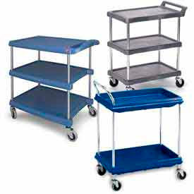 Chrome Post Plastic Shelf Utility Carts